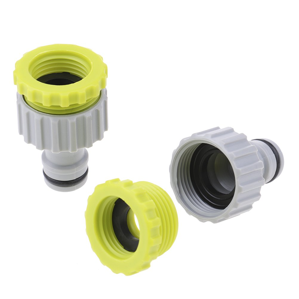 Welecom 2 Pcs Hose Connector, Hose Tap Connector Plastic Garden Hose Fitting 1/2 Inch and 3/4 Inch Size, Two-in-one