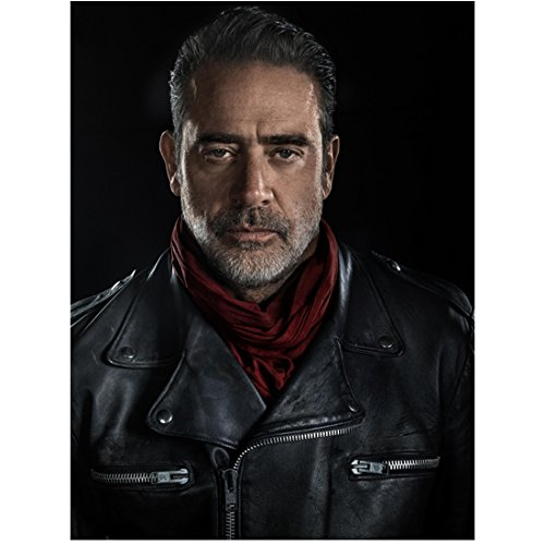 Jeffrey Dean Morgan 8 Inch x 10 Inch PHOTOGRAPH The Walking Dead (TV Series 2010 - ) Wearing Black Leather w/Black Background kn