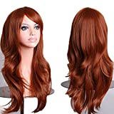 netgo Brown Auburn Cosplay Wigs for Women Long Wavy Halloween Costume Heat Resistant Party Wigs 26''