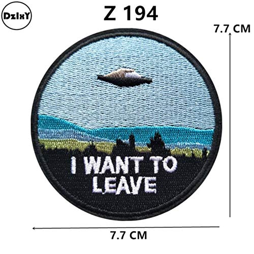 (46 Differents Styles) 1 PCS Round Patches for Clothes Iron on UFO Appliques DIY Skull Stripes Embroidery Stickers Animals Badge (1-pcs-z-194)