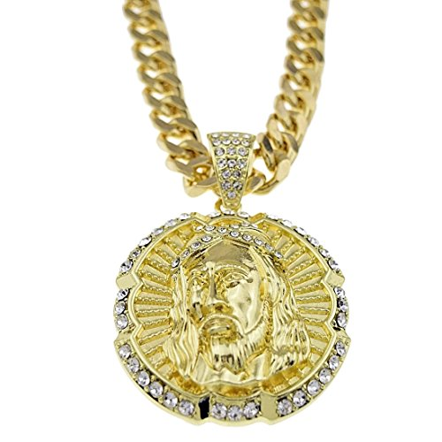 (Iced-Out Jesus Piece Round Medallion Face Pendant 30 In Cuban Link Chain Gold Tone Hip Hop Necklace)