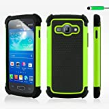 32nd Shock proof heavy duty dual protector case cover for Samsung Galaxy Ace 3 S7270 + screen protector, cleaning cloth and touch stylus - Green