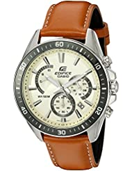 Casio Mens Edifice Quartz Stainless Steel and Leather Watch, Color:Brown (Model: EFR-552L-7AVCF)