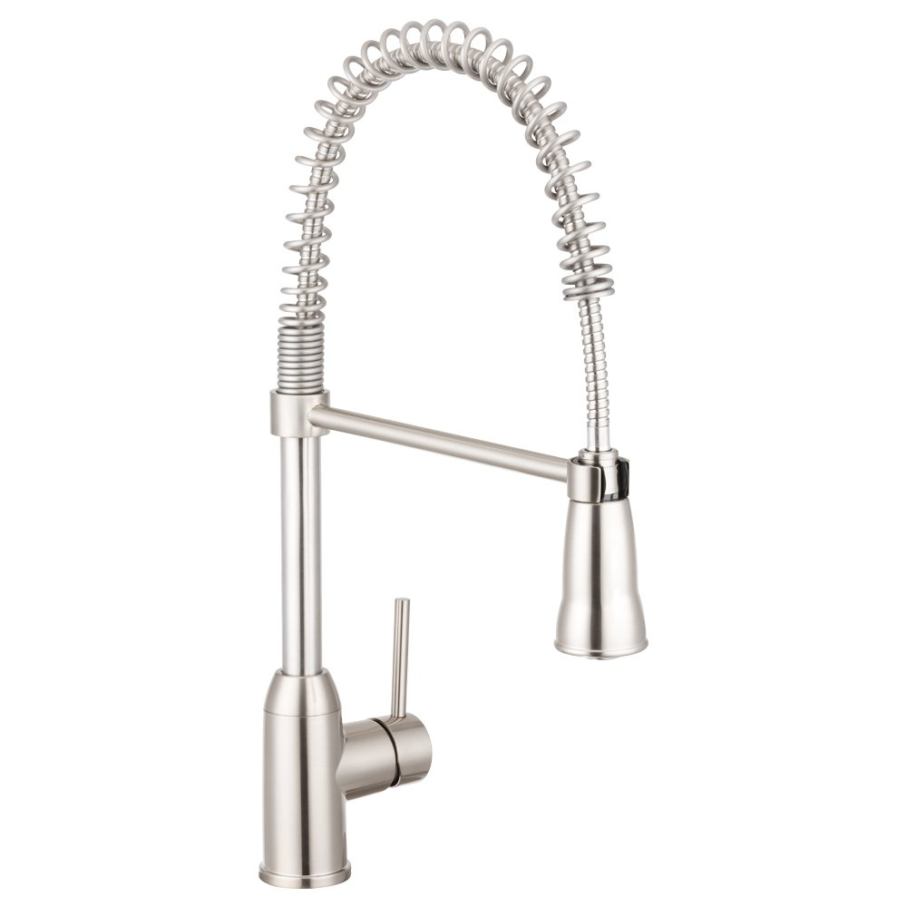 Pacific Bay Rainier Gooseneck-Style Kitchen Faucet in Brushed Satin Nickel – Features a Pull-Down Sprayer with Single-Lever and a Coiled Spout – Enjoy this Beautiful Upgrade to your Kitchen