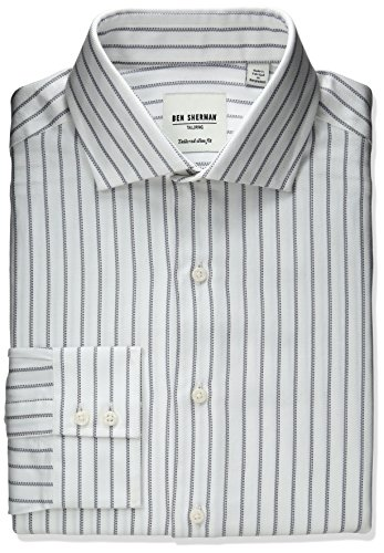 Ben Sherman Men's Slim Fit Stripe Spread Collar Dress Shi...