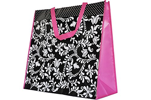 Reusable Shopper Tote - ReBagMeTM Extra Large Very Strong Reusable Grocery Bag - Laminated Recycled Shopper Tote- Very Large Gift Bag- Great Waterproof Beach Bag (19x17x8 Inches, Black. White and Pink)
