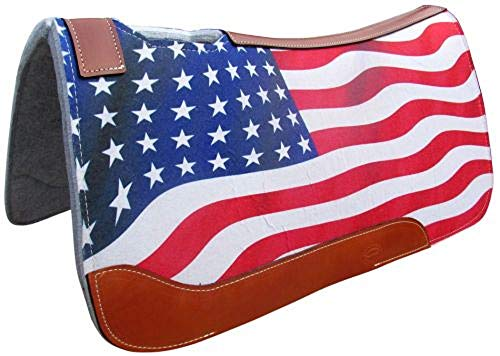 Showman 31″ X 32″ American Flag Printed Solid Felt Saddle Pad