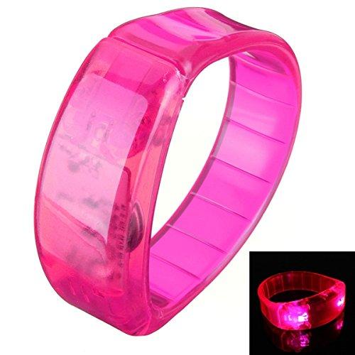 [Voice Control LED Light Glows Wristbands Bracelet Bangle Party Concert (Pink)] (Face Pirate Makeup)