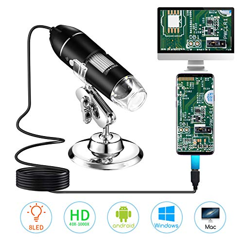 Digital Microscope,STPCTOU 40 to 1000x Magnification Endoscope 8 LED Mini Camera with OTG Adapter and Metal Stand Compatible with Mac Window7 8 10 Android Linux
