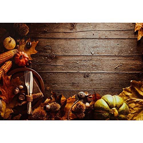 (Leyiyi Thanksgiving Dinner Backdrop 10x8ft Photography Background Texture Wooden Board Autumn Harvest Pumpkins Corns Antique Silverware Fall Maple Leaves Adults Kids Photo Props)