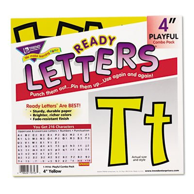 (TREND Ready Letters Playful Combo Set, Yellow, 4 inchh, 216/Set)