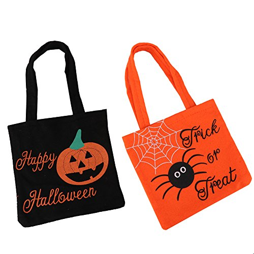 Looching Halloween Felt Fabric Trick or Treat Loot Gift Candy Bags Large Fabric Favour Tote Bag 4 (Felt Treat Bags)