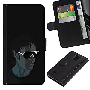UNIQCASE - Samsung Galaxy Note 4 SM-N910 - Cool Sunglasses Guy - Cuero PU Delgado caso cubierta Shell Armor Funda Case Cover