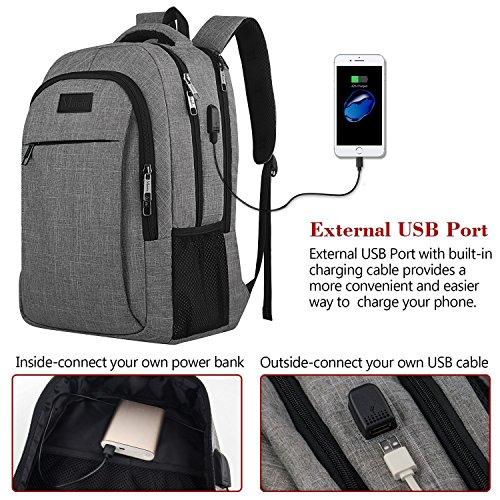 Large Product Image of Travel laptop backpack,Business Anti Theft Slim Durable Laptops Backpack with USB charging Port ,Water Resistant College School Computer Bag for Women & Men Fits 15.6 Inch Laptop and Notebook - Grey
