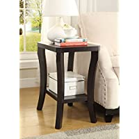 Cappuccino Finish Wooden Chair Side End Table Shelf