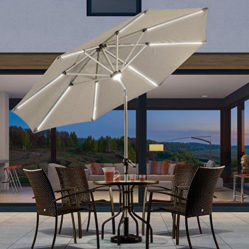 PURPLE LEAF 9 Feet Solar Powered LED Lighted Patio Umbrella with Push Button Tilt and Crank Outdoor Market Umbrella Garden Umbrella, Khaki (Patio Solar Lights Powered Led Umbrella)