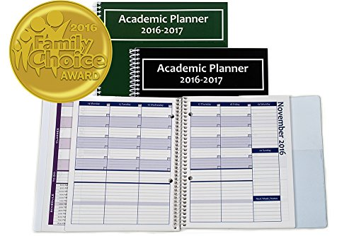 2016-2017 Academic Planner - A Tool For Time Management - Best Planner For Keeping Students On Track, On Task, On Time - Size 8.5 x 8.25 - GREEN - 2016 FAMILY CHOICE AWARD