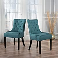 Christopher Knight Home 299537 Hayden Fabric Dining Chairs (Set of 2), Dark Teal