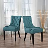 Christopher Knight Home 299537 Hayden Fabric Dining Chairs (Set of 2) Dark Teal