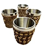 SKELETON GHOST WHISPERS RESIN SHOT GLASS SET OF FOUR WITH STAINLESS STEEL INT