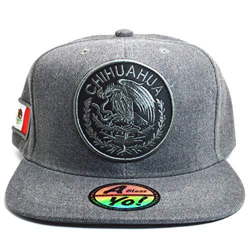 AblessYo Mexican hat Mexico Flag Charcoal Grey Snapback Baseball Cap Flat AYO6050 (Chihuahua)