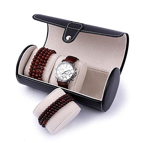 Tragbaren Uhrenbox Armbanduhr Uhrenkoffer Uhrenkasten Uhrenschatulle für 3 Uhren Kunstleder, Schwarz, 19 x 9cm -