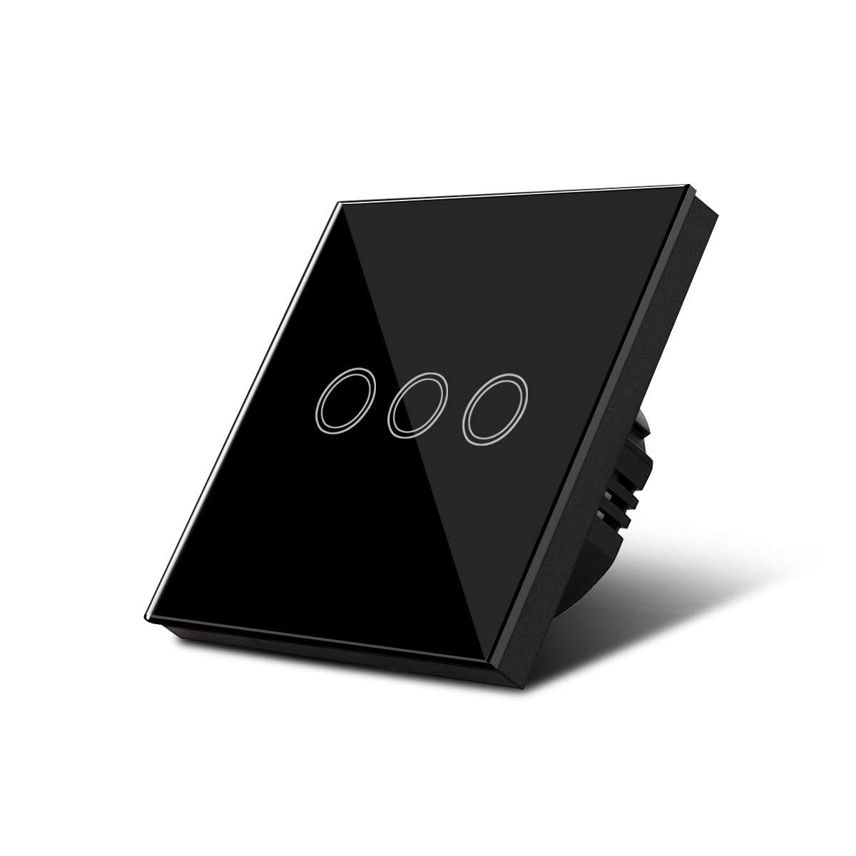Aimengte Interruptor t/áctil inteligente LED capacitivo resistente al rayado A prueba de ara/ñazos Templado Interruptor de luz de pared de vidrio 220V 1//2//3 Cuadrante con luz indicadora