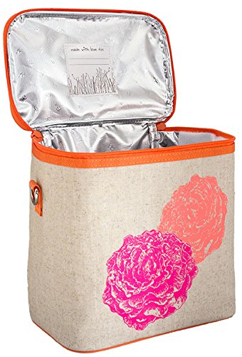 SoYoung Raw Linen Neon/Pink Peonies Large Cooler Bag