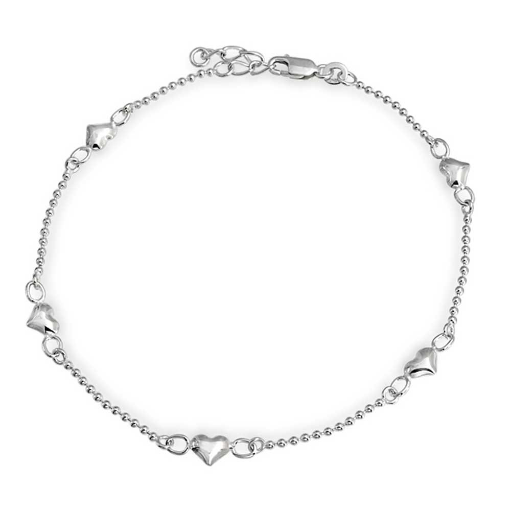 Bling Jewelry Small Heart Ball Chain Anklet Ankle Bracelet 925 Silver 9in APPL-JTA-290605