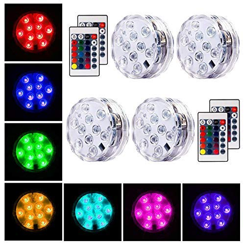 Oaksam 4pcs Submersible LED Light with Remote Controller, Waterproof Battery Powered RGBW 16 colors Light for Crystal Vase Halloween Christmas Party Events Aquarium Garden Wedding Pond Pool Accent Lig ()