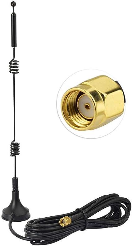 Eightwood Antena WiFi Antena 2.4G/5G/5.8G Antena Wlan de base magnética 12dBi con cable de extensión RP-SMA RG174 3m para tarjetas Wifi Tarjetas PCI ...
