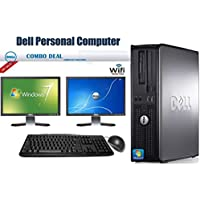 Dell OptiPlex 760 Desktop Complete Computer Package with Intel Core 2 Duo 2.8 GHz - 8GB RAM - 250GB HDD- DVD ROM- Windows 7 Pro 64-Bit - Keyboard, Mouse + Two 19 Inch Dell Monitor + WiFi