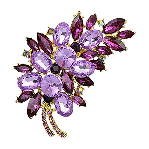 dds5391 Vintage Feather Flower Rhinestone Brooch Broach Pin Banquet Badge Breastpin - Golden + Purple