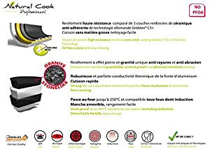 Natural Cook Professionnel - Fry Pan In Nonstick Stonelike Granitelike & Ceramic Coating Frying Pan Cookware With Detachable Handles - Suitable For All Cookers, Even Induction Cookers