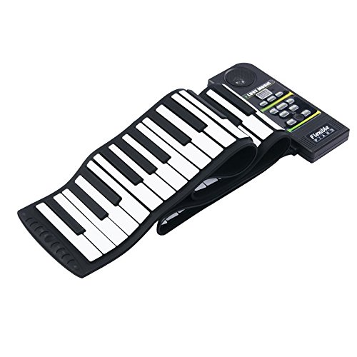 Konix 88 Keys Professional Silicon Rubber USB Midi Flexible Roll up Electronic Piano Keyboard with Louder Speaker,for Windows and Mac Os