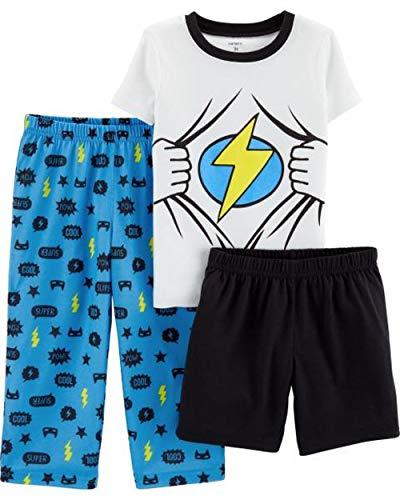 3 Morgan Piece (Carter's Boys' 3-Piece Polyester Jersey Pajama Sets (White/Blue Superhero, 2T))