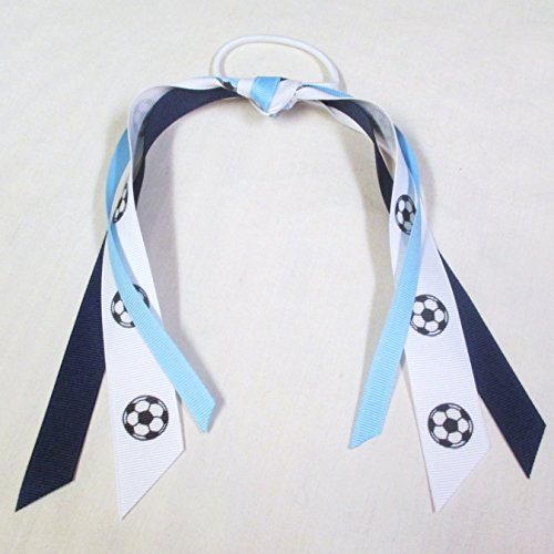 Sublimation Specialties Soccer Ribbon Scrunchie - Made in the USA, Navy/Light Blue