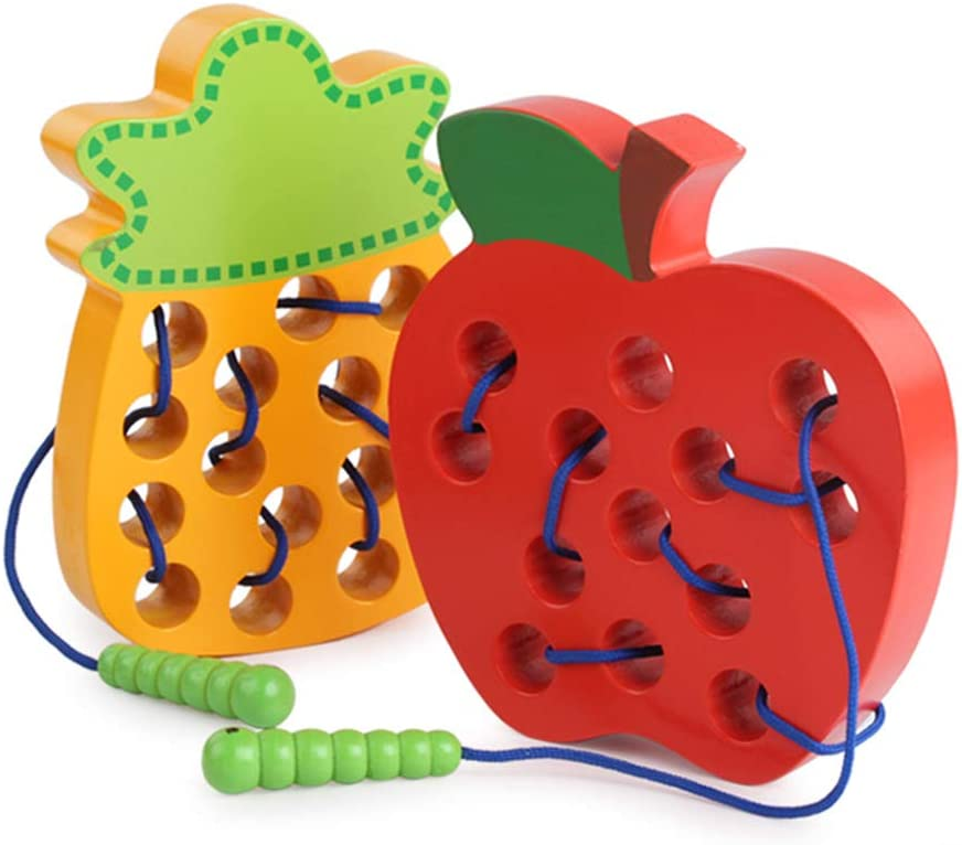 Strawberry Fruit Wooden Lacing Puzzle Threading Toy Early Learning Kids Gift Puzzles /& Magic Cubes Perfect Fun Time Play Activity Gift for Boys Girls,Watermelon Anniston Kids Toys