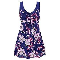 Wantdo Womens Plus Size Swimdress Flower Printed Swimwear Cover Up Swimsuits