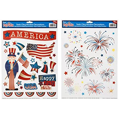 Patriotic USA Window Clings Set - 50 Pieces Total