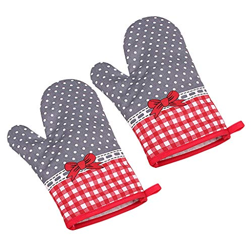 (JDgoods Kitchen Cooking Microwave Oven Cotton Gloves, Heat Resistant Gloves BBQ Kitchen Oven Mitts, Non-Slip Insulation Gloves for Barbecue, Cooking, Baking )
