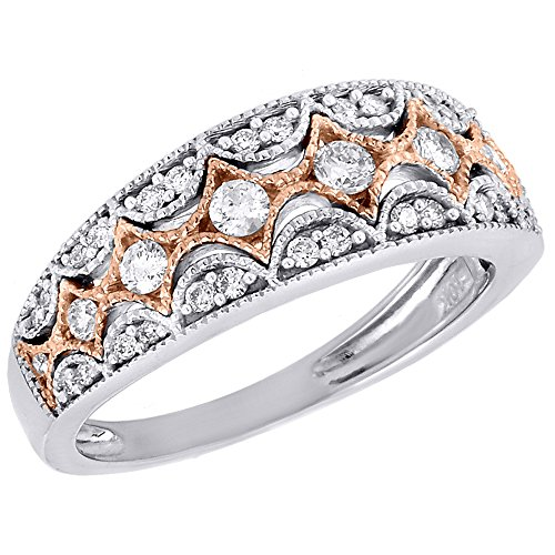 - 10K Two Tone Gold Diamond Ladies Antique Filigree Anniversary Ring Wedding Band 0.51 Cttw