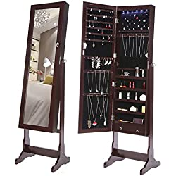 SONGMICS 6 LEDs Jewelry Cabinet Lockable Standing Jewelry Armoire Organizer with Mirror 2 Drawers Brown UJJC94K