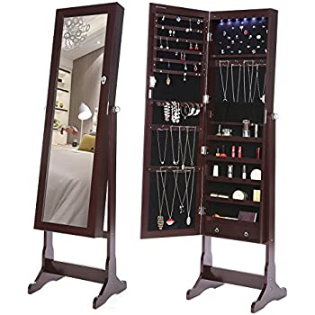 jewelry cabinet lockable standing organizer mirror drawers brown walmart armoire black friday cheval canada amazon