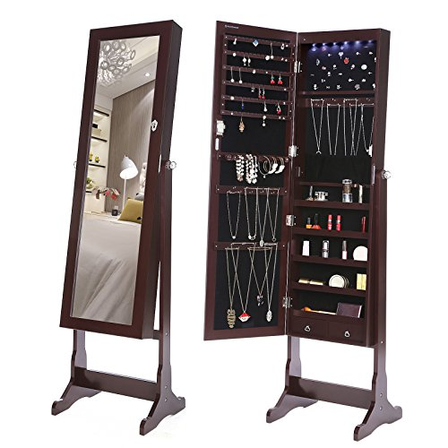 SONGMICS LED Jewelry Cabinet Lockable Standing Jewelry Armoire Organizer with Mirror 2 Drawers Brown