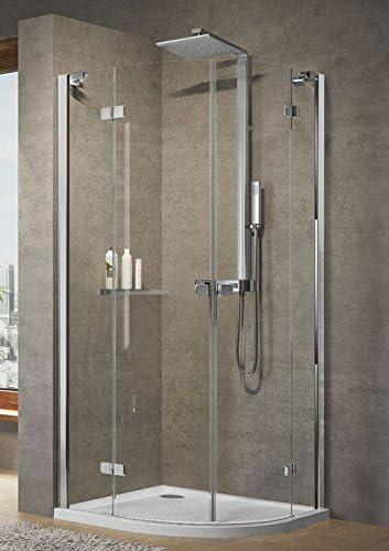 Mampara de ducha, 2 puertas, Brera 1/4 redondo battantes + 2 fijas, vidrio 6 mm, altura 200 cm: Amazon.es: Bricolaje y herramientas