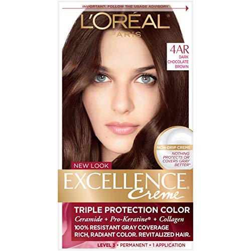 (L'Oréal Paris Excellence Créme Permanent Hair Color, 4AR Dark Chocolate Brown, 1 kit 100% Gray Coverage Hair)