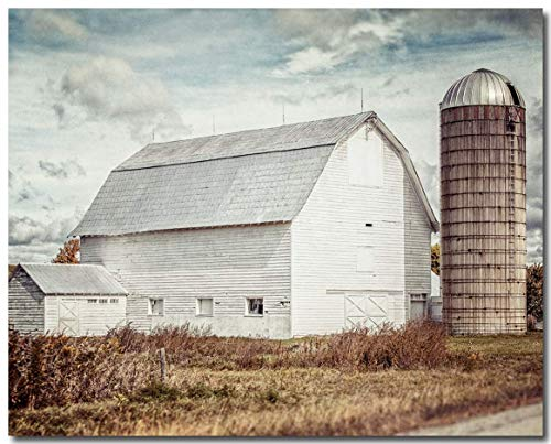 Peaceful Farmhouse Wall Decor Unframed 8x10 Print of White Barn with Silo. Beige, Blue, Neutral Rustic Country Barn Landscape Fine Art Photography.