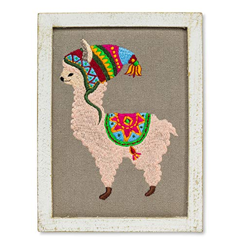 (Abbott Collection 90-STITCH-942 Llama with Hat Wall Art, Multi Colour)