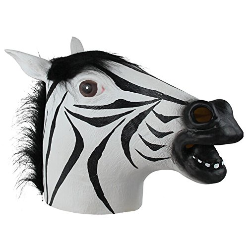 [Queenshiny Latex Animal Head Mask Halloween Cosplay Party Costume Fancy Dress (One size, Zebra-2)] (Zebra Head Costumes)